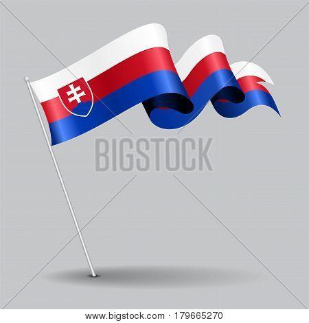 Austrian pin icon wavy flag. Vector illustration.