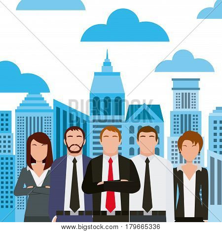business people wearing executive clothes icon over city background. colorful design. vector illustration