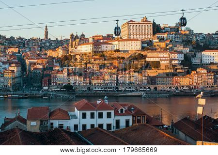 View of Douro river and Ribeira, Porto, Portugal.
