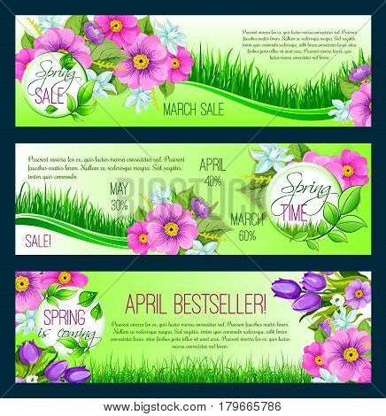 Spring Sale vector banners for springtime holiday shopping. Design of floral bunches or wreath bouquets and flowers crocus, forget-me-not, narcissus or snowdrops and lily on grass meadow
