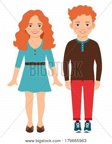 Happy smiling red haired children vector illustration. Innocent sly redhead girl and boy isolated on white background