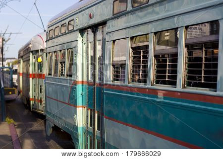Some colorful and iconic San Francisco streetcars.