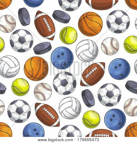 Sport seamless pattern with sketch game balls. Background with elements of balls for rugby, football, soccer, baseball, basketball, tennis, hockey puck, bowling, volleyball