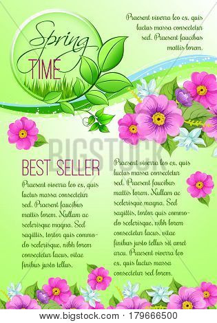 Spring time best seller vector poster template for spring holidays shopping sale discount season. Springtime crocuses and daffodils flowers bunch and blooming bouquets design on green grass