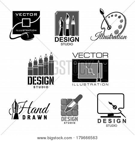 Design studio template icons for graphic and illustration designers agency or company. Symbols of artist paint palette and brushes, monitor with drawing tablet or computer mouse. Vector isolated set