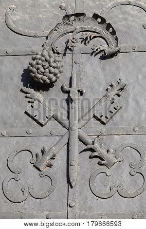 Benedictine abbey in Tyniec near Krakow fragment fragment of the entrance door to Saints Peter and Paul Church Poland