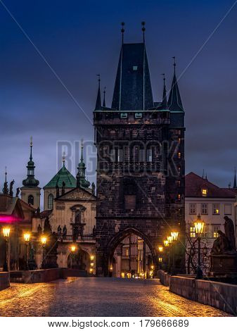 Charles Bridge at nighttime, Prague, Czech Republic