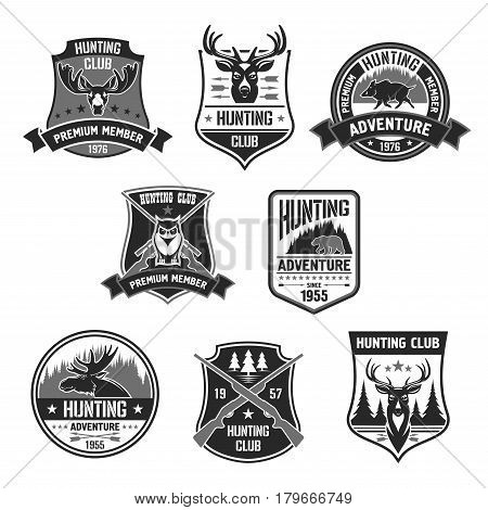Hunting adventure or hunters club icons. Open season badges with wild boar or aper, wildlife grizzly bear and forest owl, deer or elk. Vector isolated symbols of rifle gun, stars and shield ribbons
