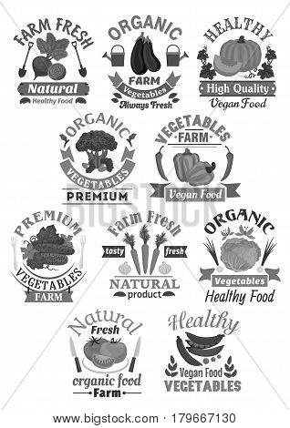 Vegetables vector premium icons set for farm organic store or veggie market. Harvest beet and eggplant or bell pepper, cucumber and broccoli. Vegan carrot, cabbage or tomato and green peas