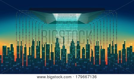 The digital city. The main chip controls the flow of information in the abstract city, high-tech background, the concept of global networking technologies, cloud service