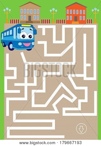 labyrinth with bus. find way to the parking. cartoon vector with editable layers