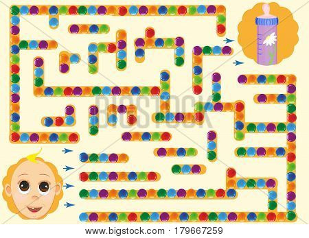 labyrinth with baby. find way to the bottle, feed child . cartoon vector with editable layers