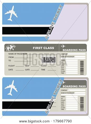 Tickets for air travel. Set ticket with envelope Botswana flag.