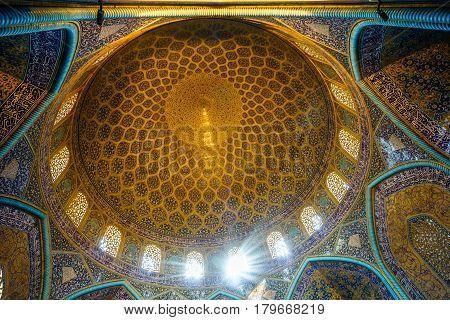 Isfahan, IRAN - November 2, 2016: View on dome of Lotfollah mosque in Isfahan - Iran