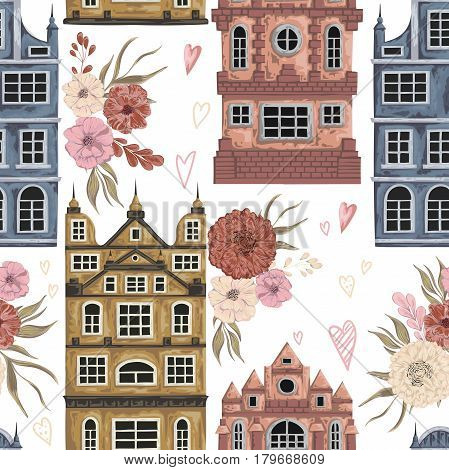 Amsterdam. Seamless pattern with historic buildings and traditional architecture of Netherlands. Old houses with floral elements. Vintage hand drawn vector illustration in watercolor style.