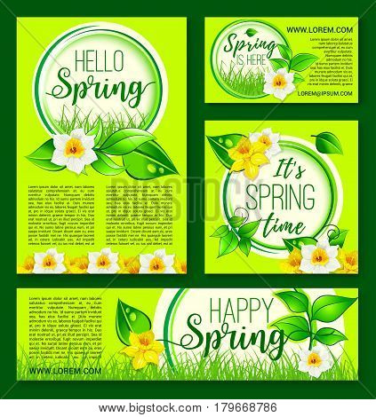 Hello Spring vector template poster, banner for springtime holiday design of flowers bunch narcissus and daffodils bouquet on blooming nature grass lawn. Welcome Spring floral greeting design