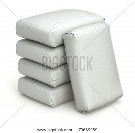 Stack of white bags on white background - 3D illustration