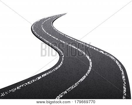 Asphalt road on a white background. Vector illustration.