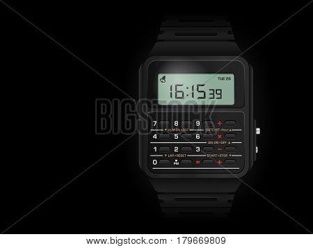 Calculator Digital Watch On Black
