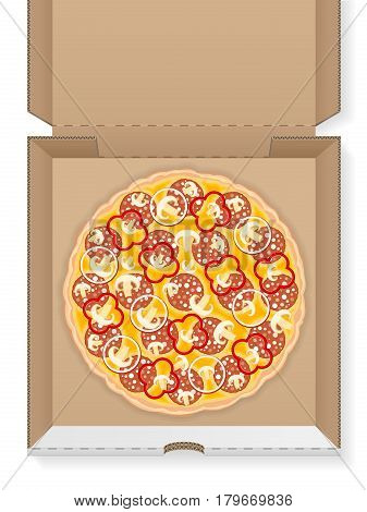 Cardboard box with pizza on a white background.