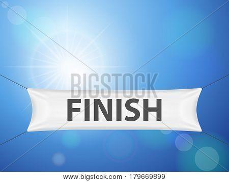Finish banner on a sky background. Vector illustration.