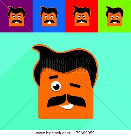 People emotional icon. Different emotions. Vector illustration.