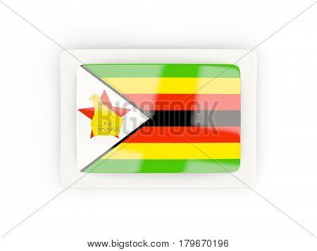 Rectangular Flag Of Zimbabwe With Carbon Frame