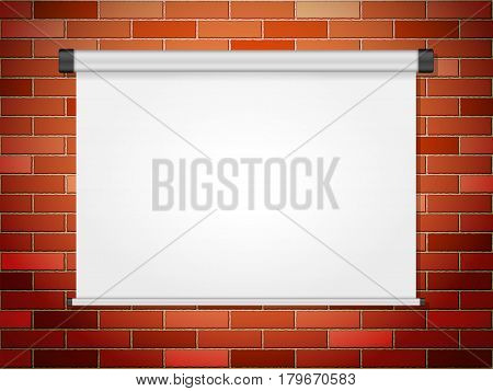 Projection screen on brick wall. Vector illustration.
