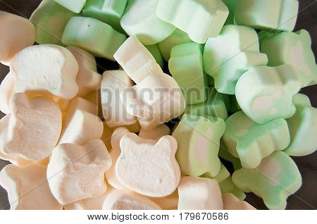 Marshmallows. Background or texture of colorful mini marshmallows. Selective focus