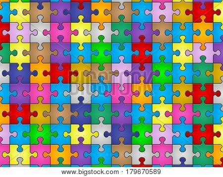 Colors jigsaw puzzle pieces pattern background. Vector illustration.