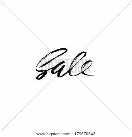 Sale handwritten lettering. Grunge dry brush template. Typography bunner. Hand drawn calligraphy. Vector illustration