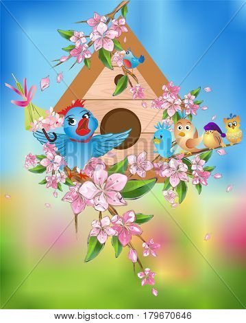 artwork with a house for the birds before which is a Spring concert singing