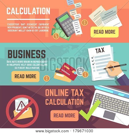 Online tax accountanting, taxation, business finance vector banners set. Tax finance declaration, illustration of tax form