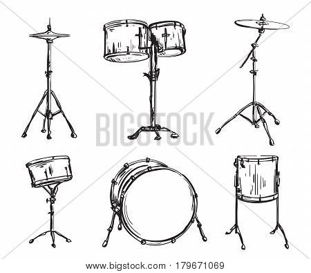 Drum kit in sketch style. Isolated elements. Hand drawn vector illustration