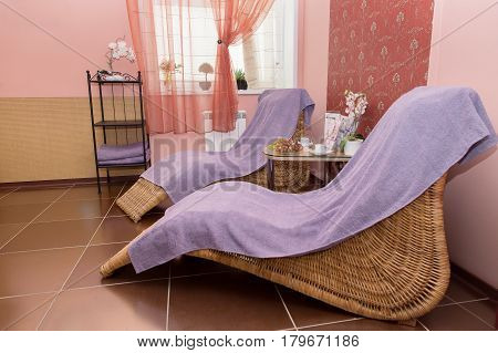 Close-up Of Loungers In Cozy Spa Room