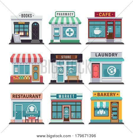 Modern fast food restaurant and shop buildings, store facades, boutiques with showcase flat icons. Exterior market and restaurant, illustration of exterior facade store building poster