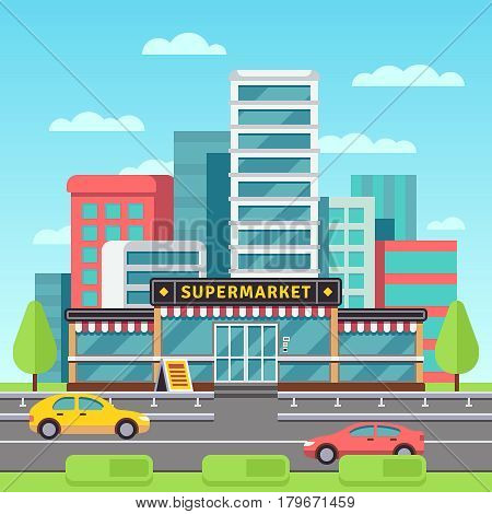 Market exterior, supermarket building, grocery store in modern cityscape with mall parking vector illustration. Supermarket in city, market store building