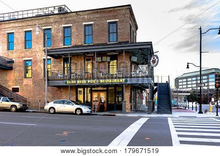 Montgomery Alabama USA - January 28 2017: The Irish Bred Pub & Restaurant on historic Dexter Avenue in downtown Montgomery.