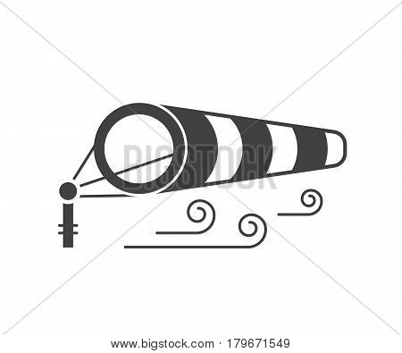 Windsock icon in outline design. Wind speed logo with inflated striped windbag on airport runway. Wind sock logotype or label template. Windy weather meteorologic vector illustration.