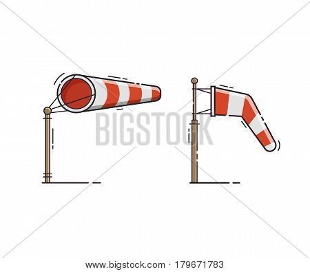 Airport windsock showing no wind and windy weather. Red striped wind bag vector illustration. Meteorological weathercock isolated on white background.