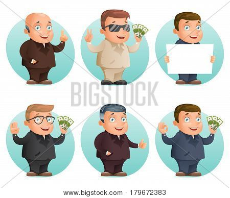 Businessman mascot professional hand gestures money ok thumb up victory pointing finger design cartoon vector illustration