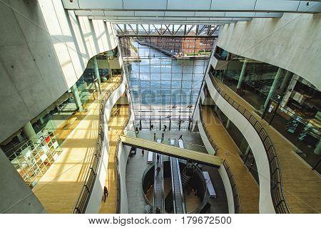 COPENHAGEN DENMARK - June 15: Interior of the Royal Library also known as The Black Diamond in Copenhagen Denmark in 2012