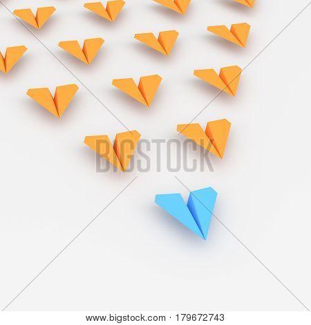 Leadership concept blue leader plane leading orange. 3D rendering