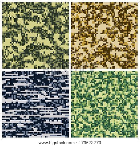 Military camouflage, army uniform fabric vector seamless patterns. Background military uniform camouflage, illustration army fabric pixel camouflage