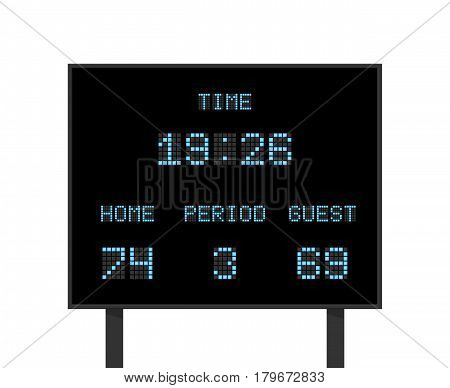 Vector digital electronic board with football or soccer score competition. Scoreboard with result competition, illustration of score board with information