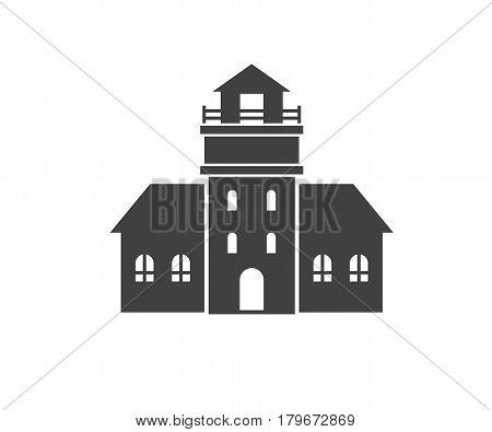 Lighthouse icon in outline design. Sea light house logotype silhouette vector illustration. Old pharos or seamark logo or label template.