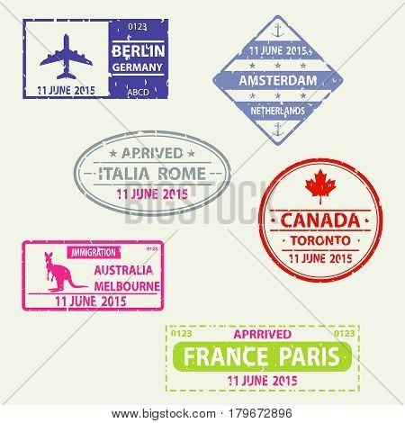 Stamp in the passport visa. Flat design vector illustration vector.