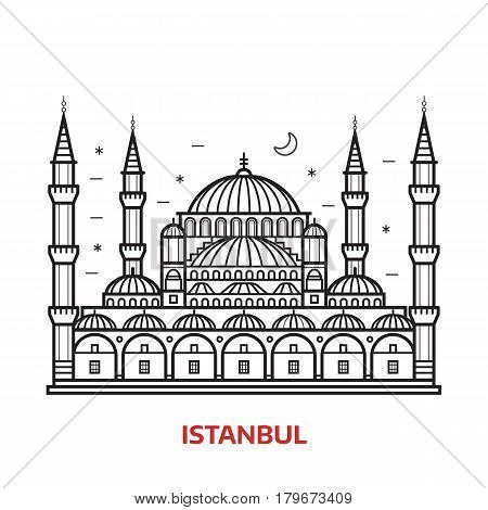 Travel Istanbul landmark icon. Islamic dome and minarets of famous architectural tourist attraction in Turkey. Thin line turkish muslim mosque vector illustration in outline design.