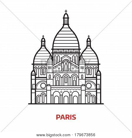 Travel Paris landmark icon. Sacre Coeur church, famous architectural tourist attractions in capital of France. Thin line Basilica of the Sacred Heart of Paris vector illustration in outline design.