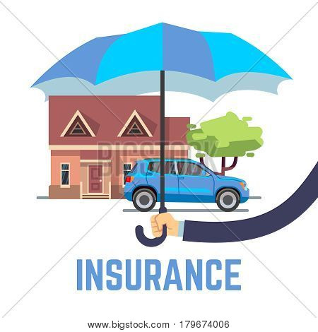 Insurance vector flat safe concept with hand holding umbrella over house and car. Security and insurance transport and building, illustration of car and house insurance
